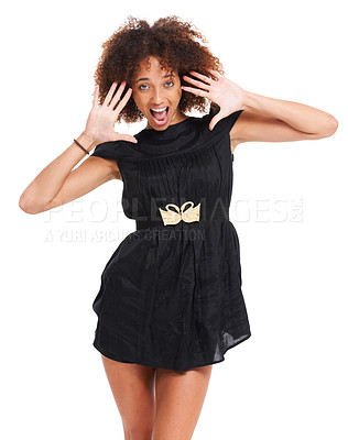 Buy stock photo Young woman posing with a surprised face while isolated on white