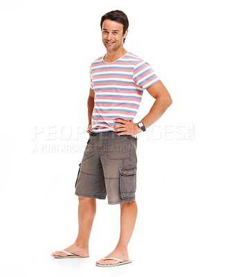 Buy stock photo Casual young man standing smiling while isolated on white