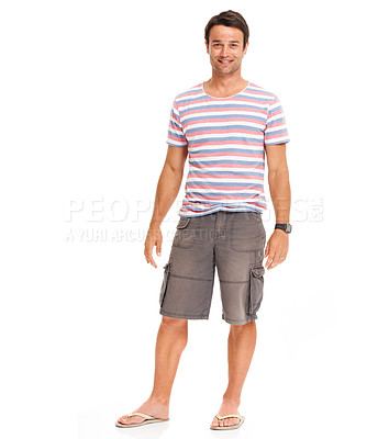 Buy stock photo Casual young man standing feeling relaxed while isolated on white