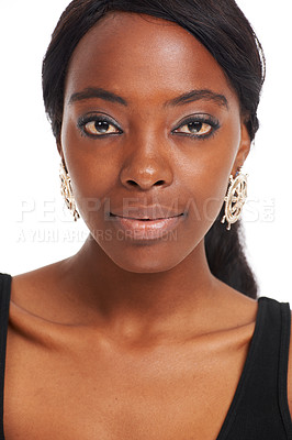 Buy stock photo Pretty African woman isolated on white - portrait