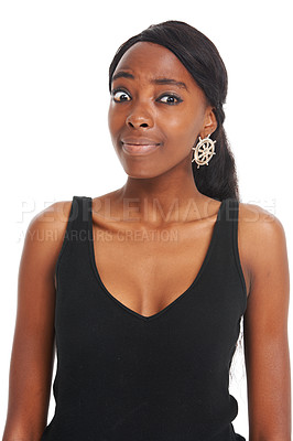 Buy stock photo Confused looking African young woman isolated on white