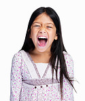 Portrait of a screaming little girl isolated on white