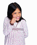 Portrait of a cute girl showing a thumbs up against white
