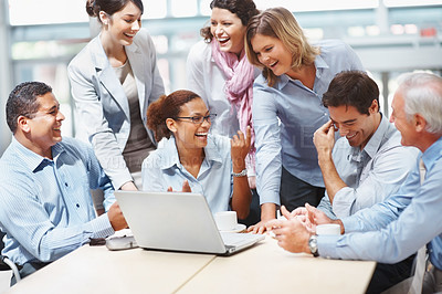 Buy stock photo Group of happy multi ethnic business people in a meeting at office