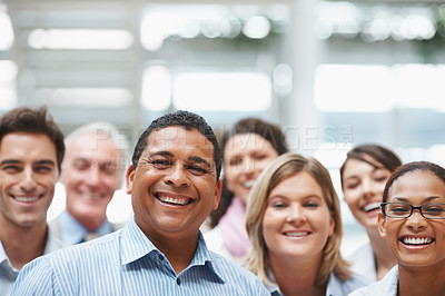 Buy stock photo Business portrait - Happy multi ethnic executives standing together with copyspace