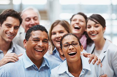 Buy stock photo Portrait of happy business group demonstrating partnership