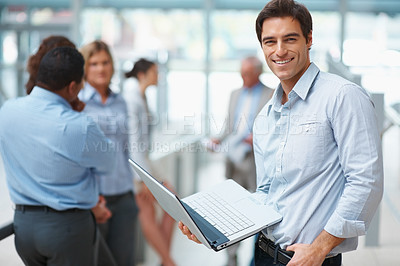 Buy stock photo Smart Caucasian business executive browsing the internet at office
