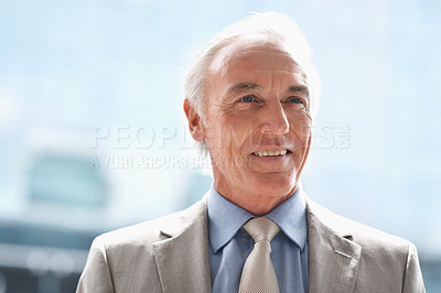 Buy stock photo Thoughtful senior business executive in a grey suit
