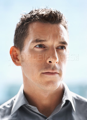 Buy stock photo Closeup portrait of a thoughtful young business man