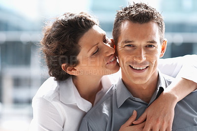 Buy stock photo Closeup of a mature beautiful woman whispering to a happy man