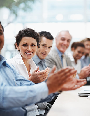 Buy stock photo Congratulations - Positive business team applauding at a conference