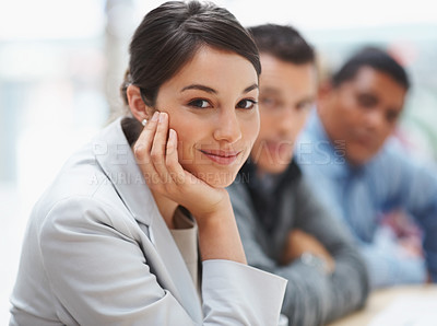 Buy stock photo Portrait of a positive business woman at a seminar with colleagues