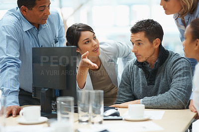 Buy stock photo Business plan - Young business woman presenting her ideas to colleagues during a meeting