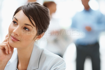 Buy stock photo Portrait of a beautiful business woman thinking about something
