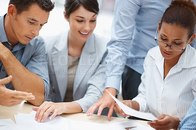 Buy stock photo Successful group of business people working on plans