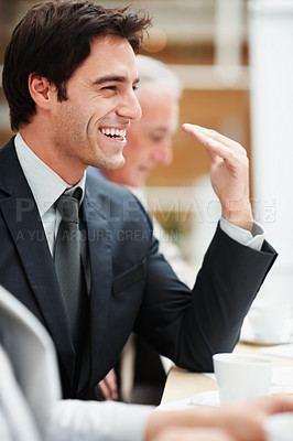 Buy stock photo Happy and successful business man at a board room meeting