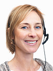 Portrait of happy mature woman wearing headset