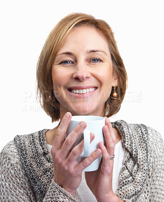 Buy stock photo Portrait of attractive middle aged lady holding a cup of coffee isolated over white background