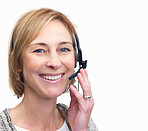 Happy middle aged woman using a headset over white background