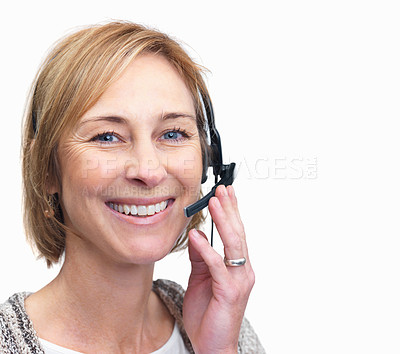 Buy stock photo Closeup portrait of happy middle aged woman using a headset over white background