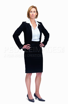 Buy stock photo Portrait of mature female lawyer standing isolated over white background