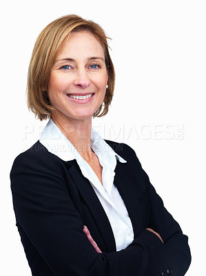 Buy stock photo Portrait of beautiful middle aged female lawyer with hands folded isolated over white background