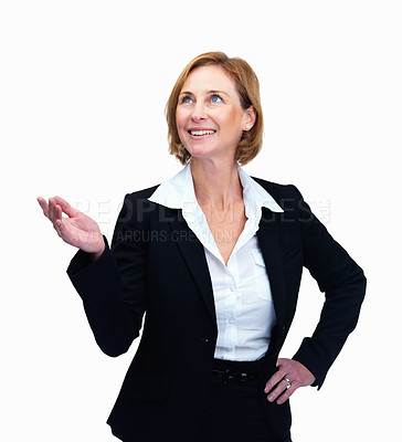 Buy stock photo Portrait of mature female lawyer displaying something interesting looking at copyspace