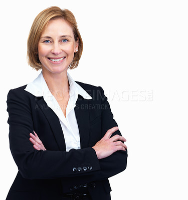 Buy stock photo Portrait of beautiful mature female lawyer standing with hands folded isolated over white background