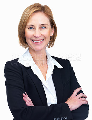 Buy stock photo Portrait of happy mature business woman with hands folded isolated over white background