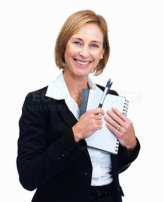 Buy stock photo Portrait of cheerful mature female lawyer holding writing pad and pen isolated over white background