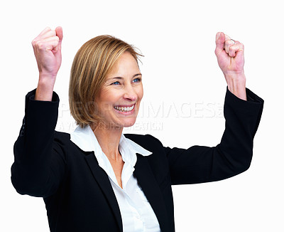 Buy stock photo Portrait of middle aged female lawyer rejoicing success isolated over white background