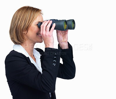 Buy stock photo Portrait of mature businesswoman searching for opportunities against white background