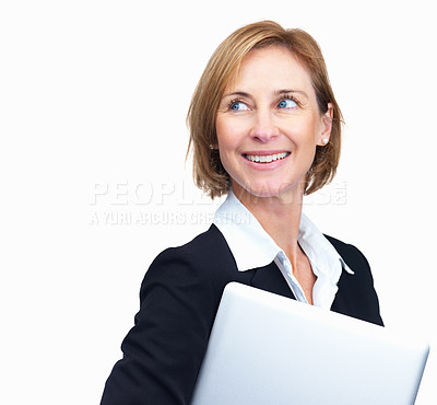 Buy stock photo Portrait of beautiful mature businesswoman holding laptop while looking away - Copyspace