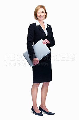 Buy stock photo Full length portrait of attractive mature businesswoman holding laptop isolated over white background
