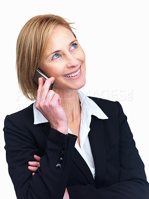Buy stock photo Portrait of pretty mature female lawyer talking on mobile looking upwards isolated over white background