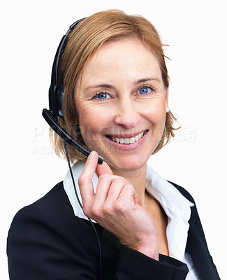 Buy stock photo Closeup  portrait of a charming mature customer service agent with headset isolated over white background