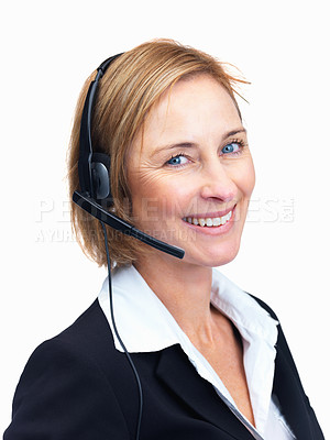 Buy stock photo Portrait of confident mature customer service operator isolated over white background