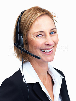 Buy stock photo Closeup portrait of happy middle aged customer service agent enjoying conversation isolated over white background