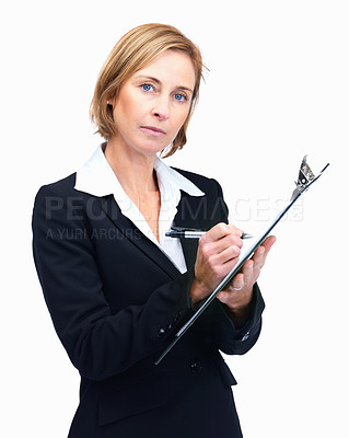 Buy stock photo Portrait of confident mature female entrepreneur taking notes isolated over white background