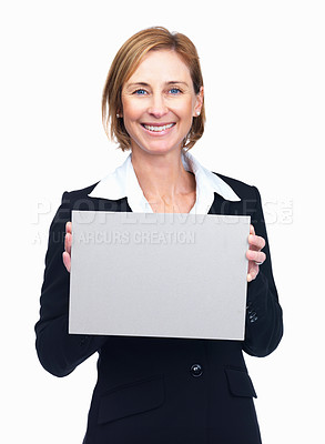 Buy stock photo Portrait of charming mature businesswoman holding blank billboard isolated over white background