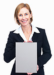 Beautiful middle aged businesswoman holding empty billboard