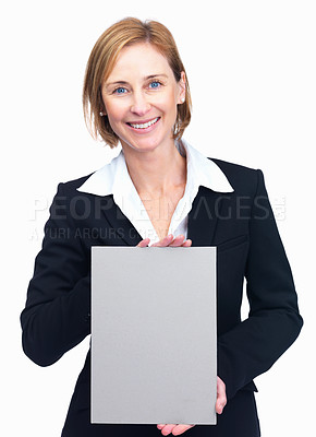 Buy stock photo Portrait of beautiful middle aged businesswoman holding empty billboard isolated over white background