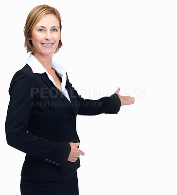 Buy stock photo Portrait of happy middle aged business woman showing copyspace over white background