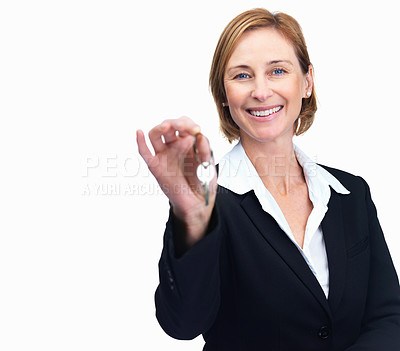 Buy stock photo Portrait of charming middle aged business woman holding keys isolated over white background