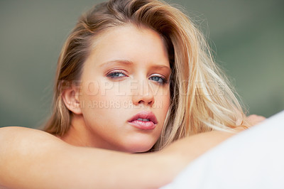 Buy stock photo Closeup portrait of a young woman giving you a seductive look