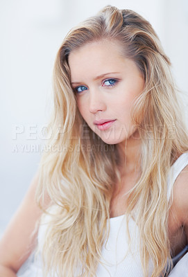 Buy stock photo Portrait of a stunning young blond female smiling