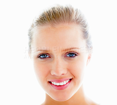 Buy stock photo Closeup portrait of a cute young Caucasian female smiling against white