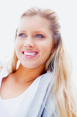 Buy stock photo Closeup portrait of a smiling young blond female against a bright background
