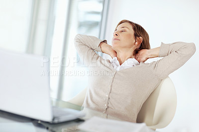 Buy stock photo Portrait of mature business woman resting at her desk