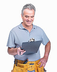 Happy mature carpenter holding a notepad against white
